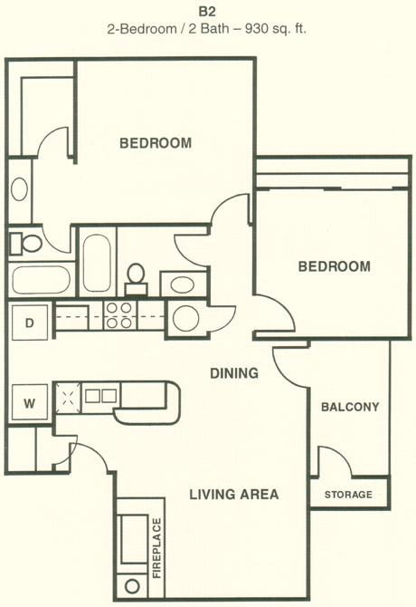 930 sq. ft. B3 floor plan