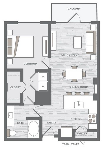 783 sq. ft. A2A floor plan
