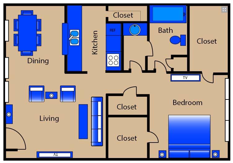 715 sq. ft. E2/T1/T4/T6 floor plan