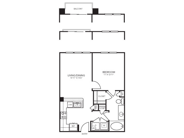 672 sq. ft. A2 floor plan