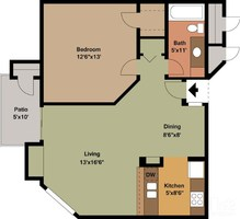 714 sq. ft. A3 floor plan