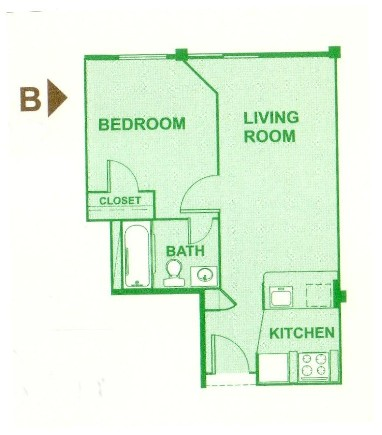 456 sq. ft. B floor plan