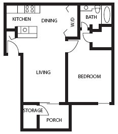 660 sq. ft. Amethyst floor plan