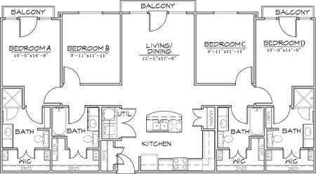 1,472 sq. ft. D1 floor plan