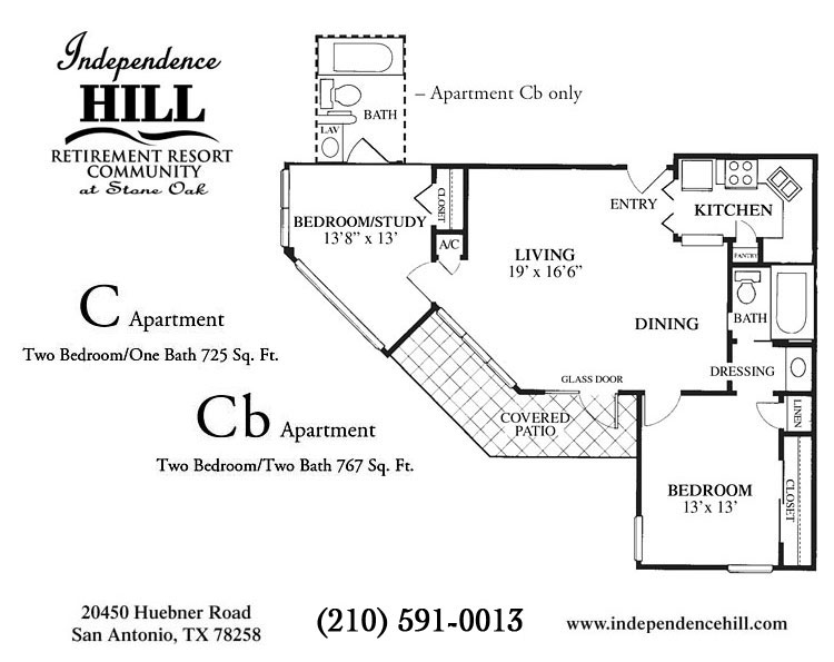 767 sq. ft. Cb floor plan
