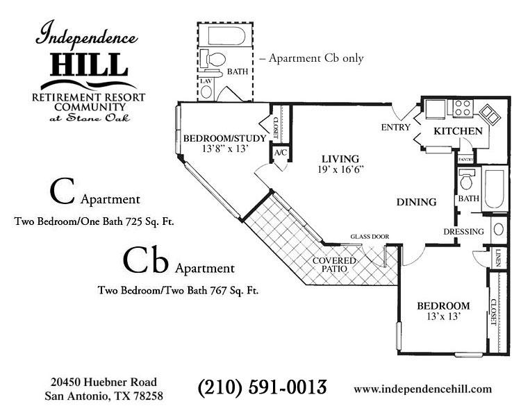 725 sq. ft. C floor plan