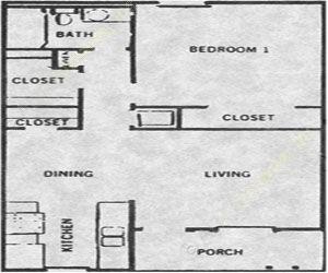 600 sq. ft. Patio 50% floor plan