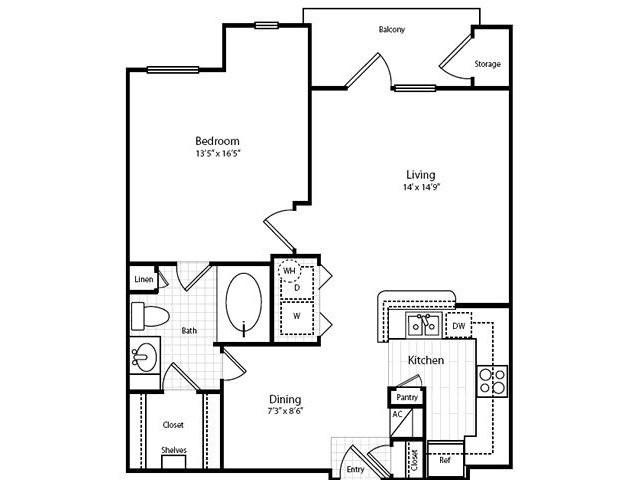 744 sq. ft. A2G-1 floor plan