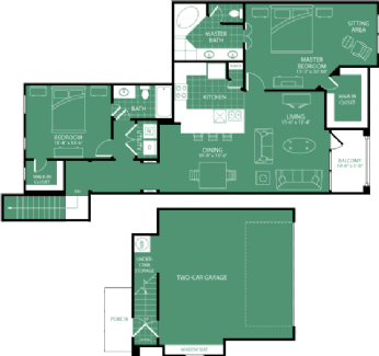 1,381 sq. ft. Quail Hollow floor plan