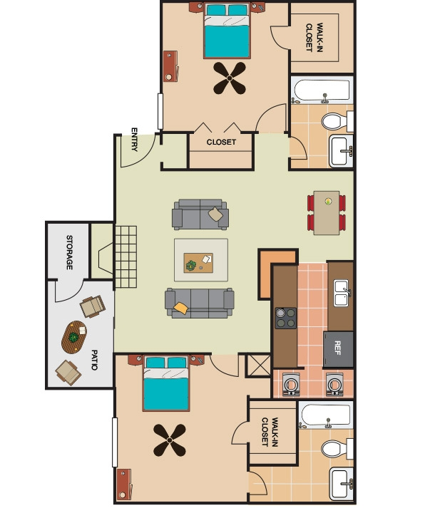 963 sq. ft. B1 floor plan