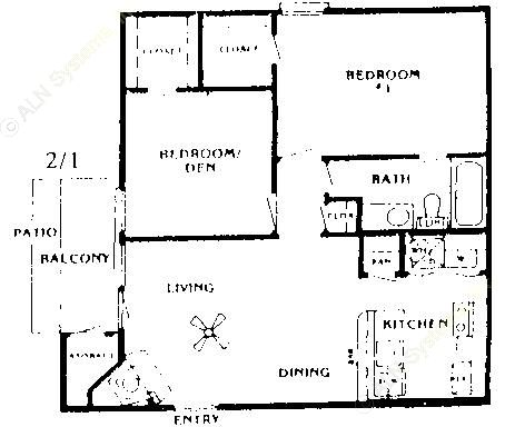 853 sq. ft. Cedar floor plan