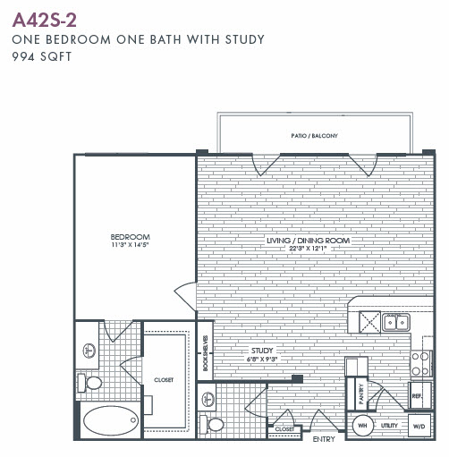994 sq. ft. A42S-2 floor plan