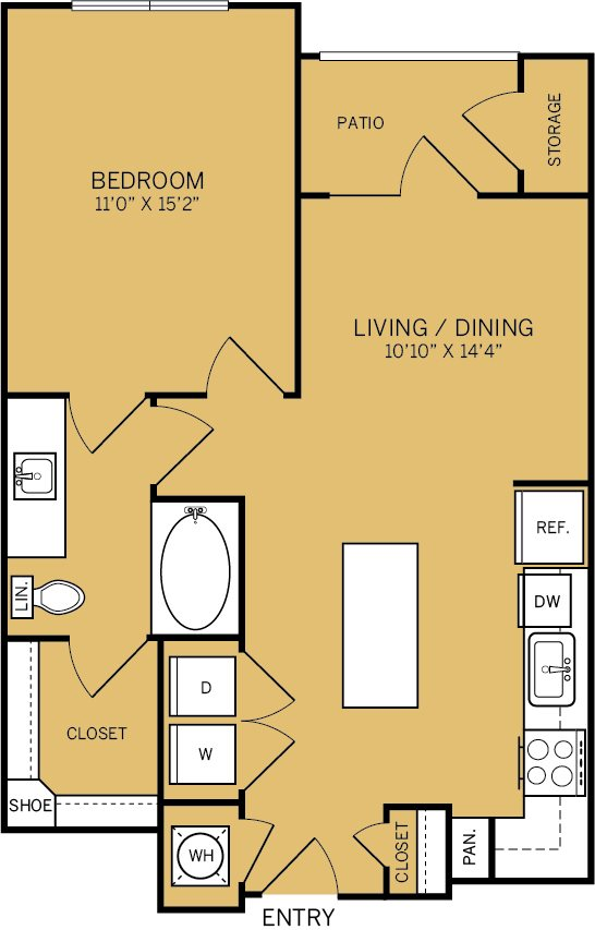 706 sq. ft. to 739 sq. ft. A2A floor plan