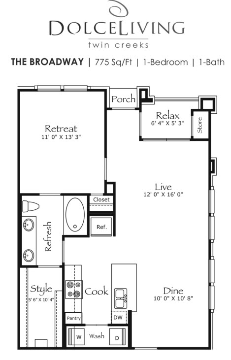 775 sq. ft. A2-Broardway II floor plan