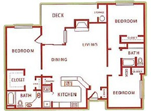 1,315 sq. ft. C floor plan