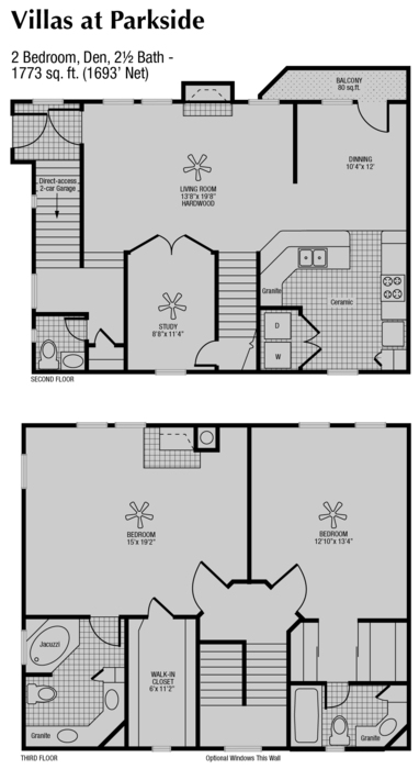 1,693 sq. ft. to 1,773 sq. ft. H floor plan