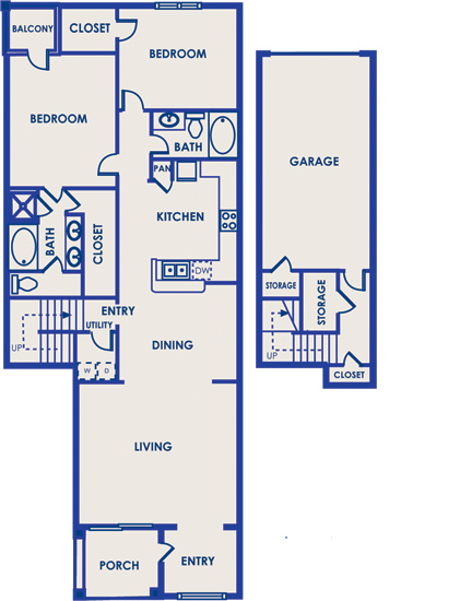 1,535 sq. ft. 22B floor plan