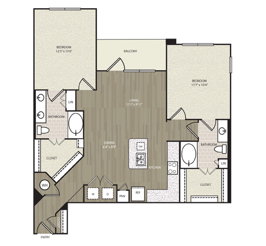 1,219 sq. ft. B10 floor plan