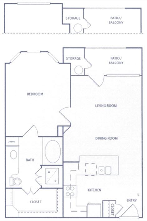 722 sq. ft. A1a floor plan