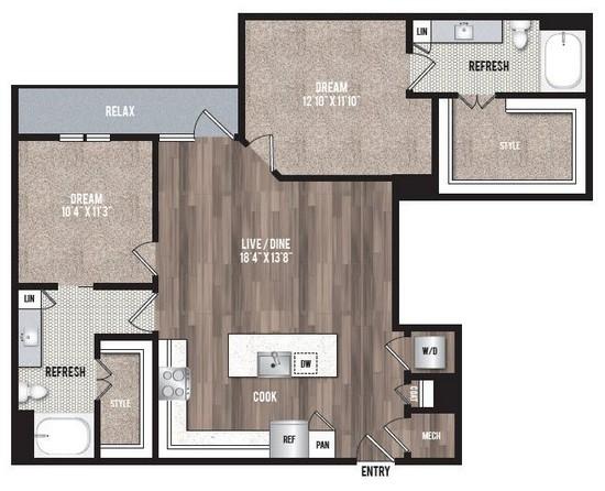1,140 sq. ft. B4 floor plan