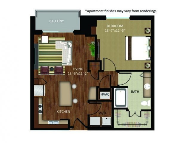 819 sq. ft. A13 floor plan