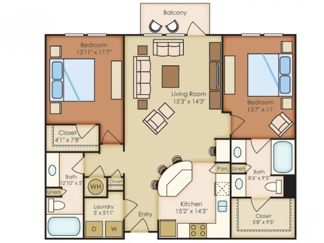 1,173 sq. ft. B2A floor plan