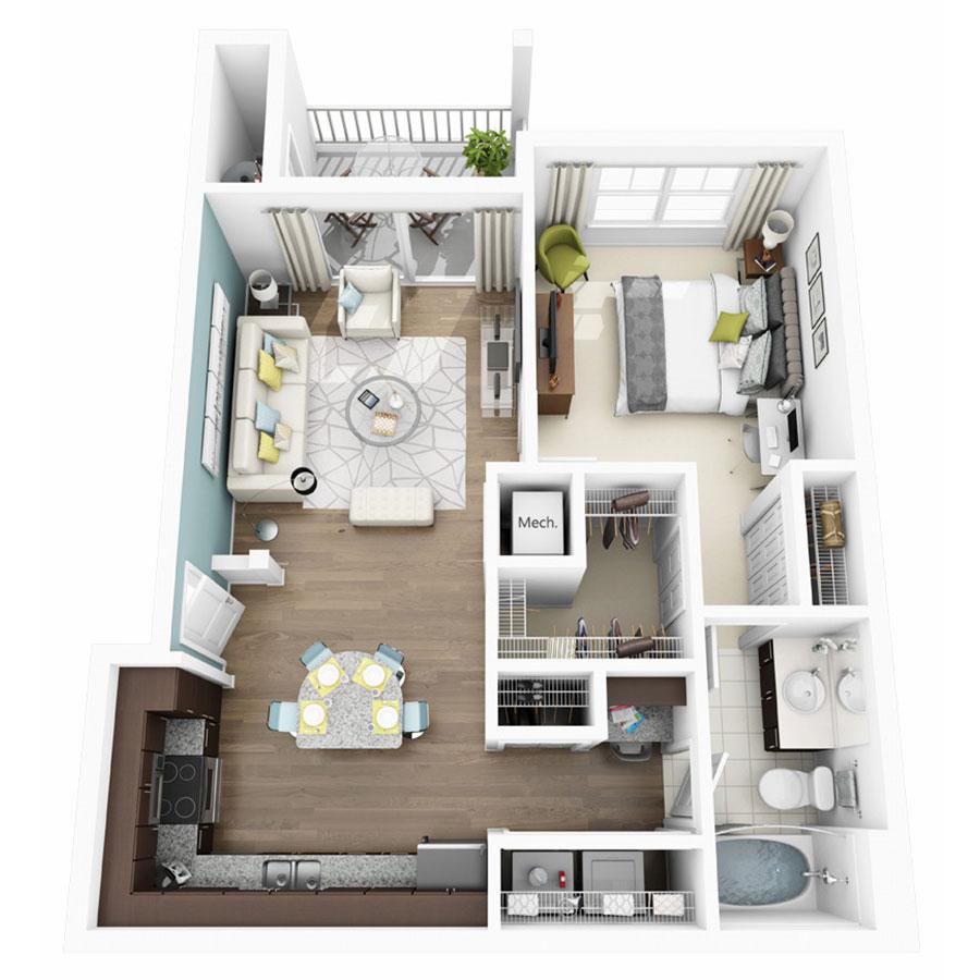 726 sq. ft. Allegre floor plan