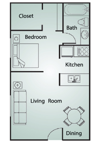 443 sq. ft. EFF floor plan