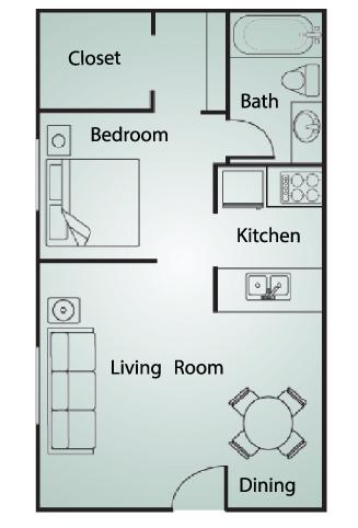 443 sq. ft. EFF floor plan