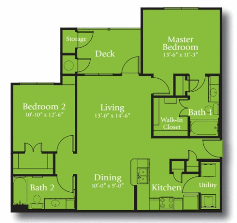 1,049 sq. ft. 60% floor plan