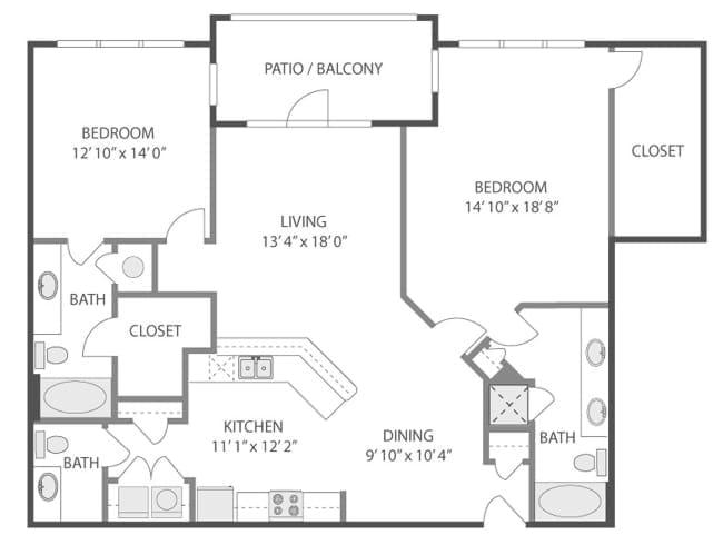 1,463 sq. ft. Hermitage/C8 floor plan
