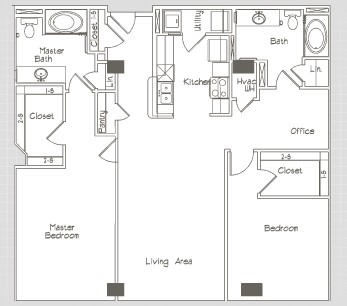 1,330 sq. ft. B2 floor plan