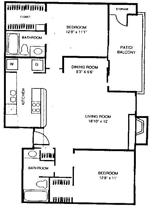 975 sq. ft. B2 floor plan