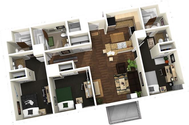 1,110 sq. ft. floor plan