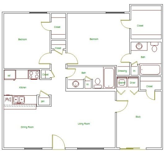 1,194 sq. ft. I floor plan