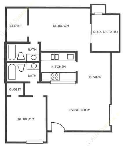 976 sq. ft. B1 floor plan