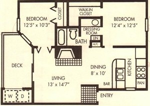812 sq. ft. Oak floor plan