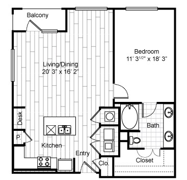 978 sq. ft. A9 floor plan