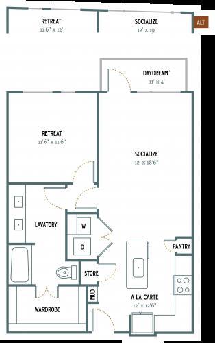 802 sq. ft. A4 floor plan