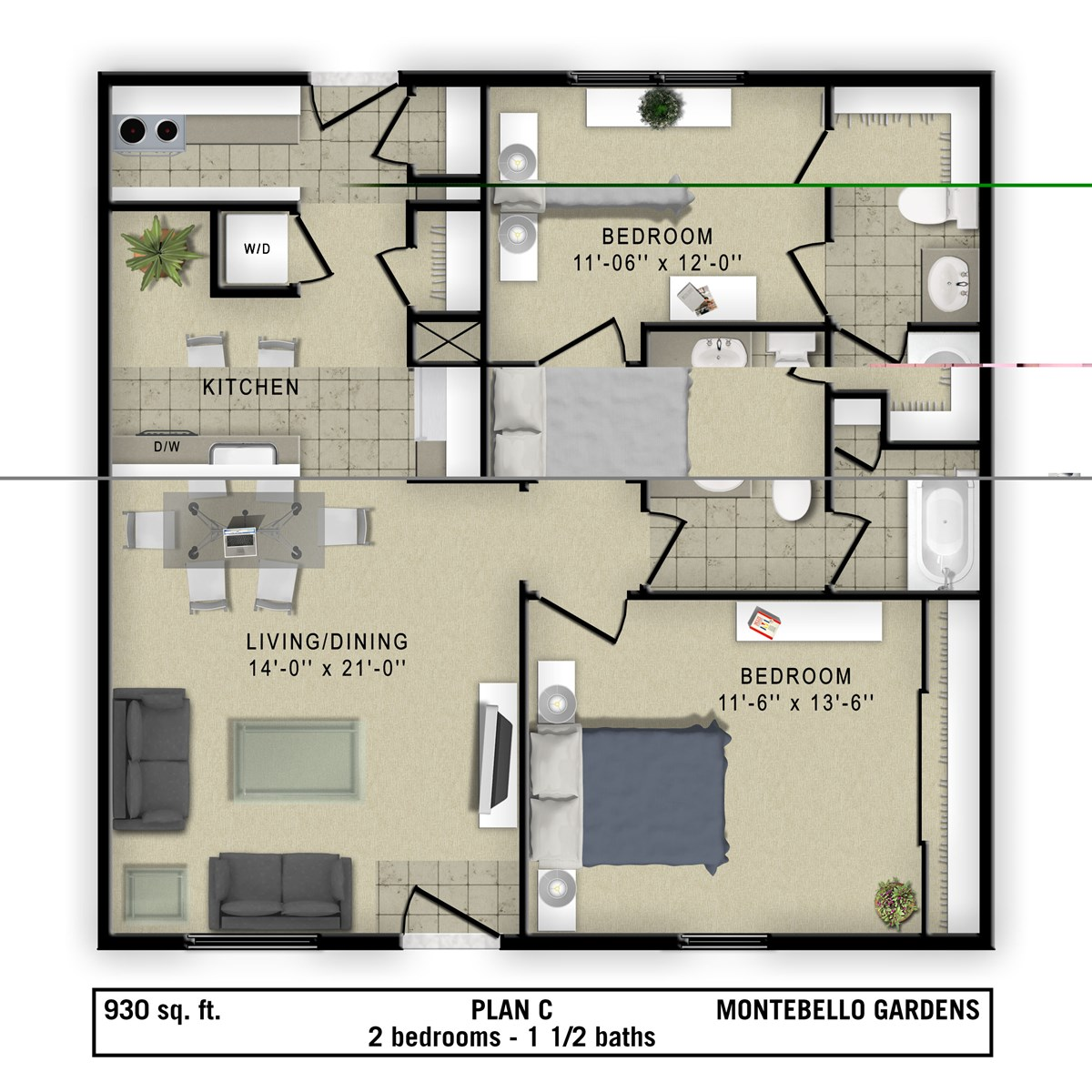 930 sq. ft. Torino floor plan