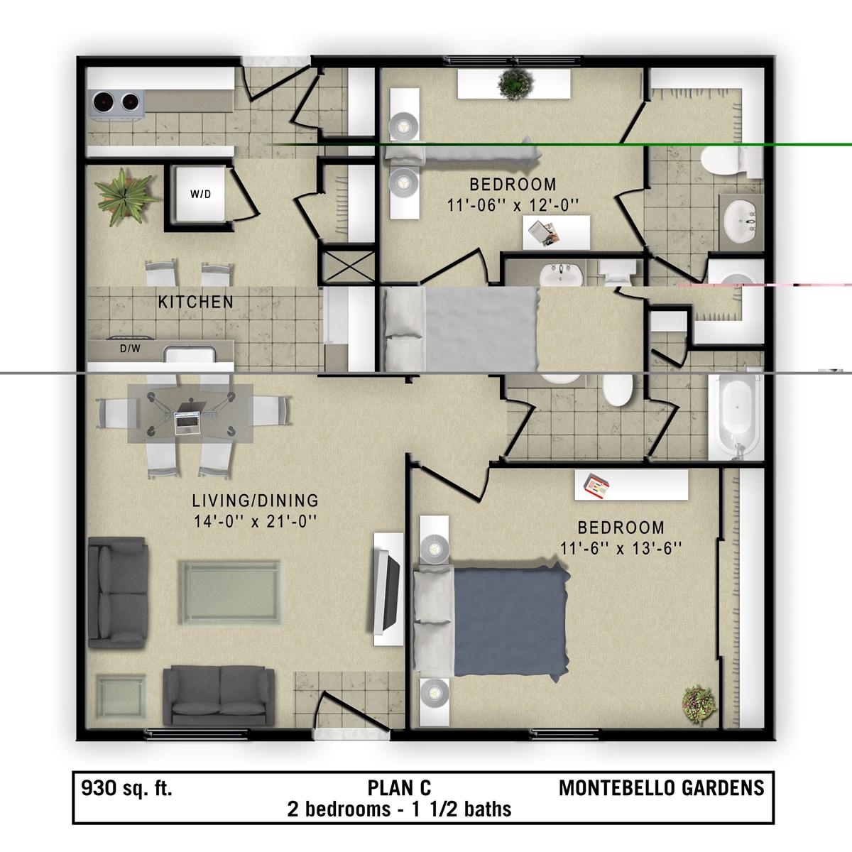 930 sq. ft. Torino floor plan