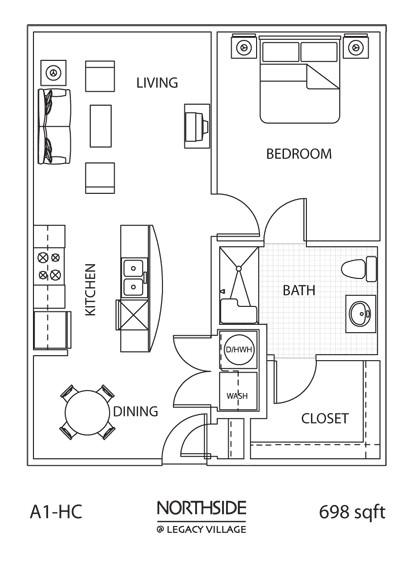 698 sq. ft. A1-HC floor plan