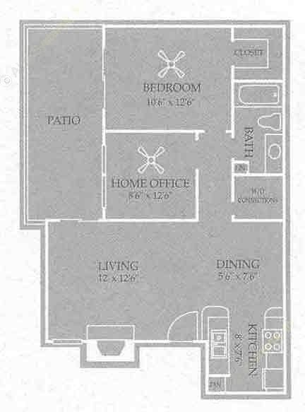 746 sq. ft. Charelston floor plan