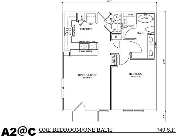 740 sq. ft. A2C floor plan