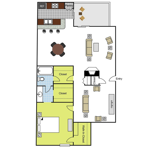 1,017 sq. ft. A6 floor plan