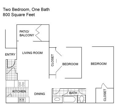 800 sq. ft. D floor plan