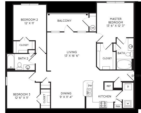 1,375 sq. ft. C1 floor plan