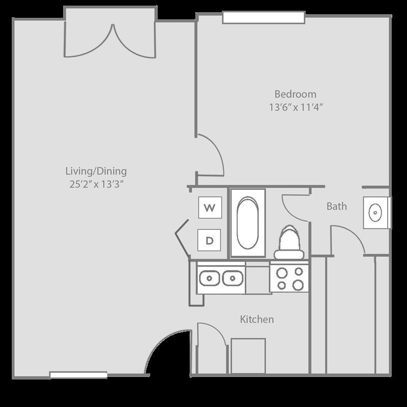681 sq. ft. WESLEY floor plan
