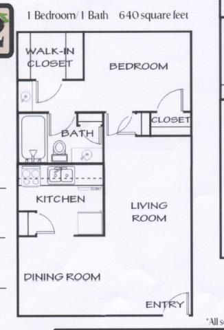 640 sq. ft. B floor plan