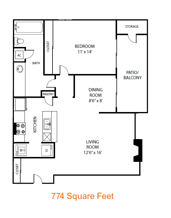 774 sq. ft. Hawthorn floor plan